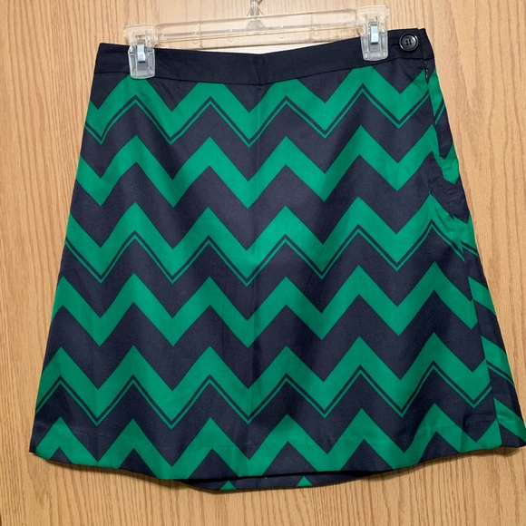 The Limited Dresses & Skirts - The Limited Green Navy Chevron mini skirt NWT